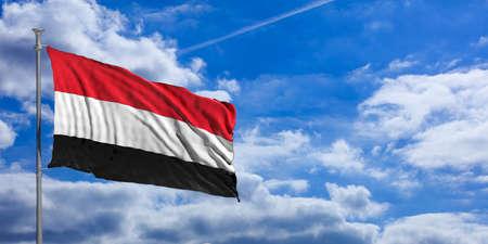 yemen: Yemen waving flag on blue sky background. 3d illustration