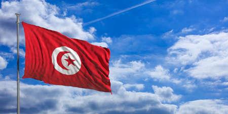 De golvende vlag van Tunesië op blauwe hemelachtergrond. 3D illustratie