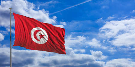 Tunisia waving flag on blue sky background. 3d illustration