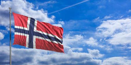 Norway waving flag on blue sky background. 3d illustration