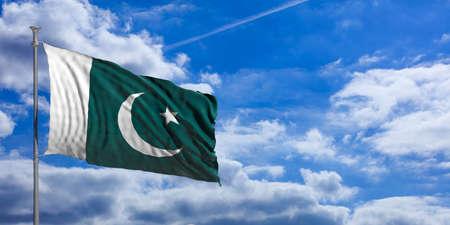 Pakistan waving flag on blue sky background. 3d illustration