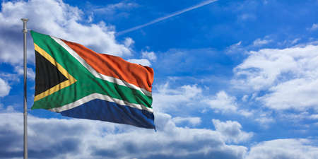 South Africa waving flag on blue sky background. 3d illustration