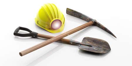 El casco, el pico y la pala del minero aislados en el fondo blanco. Ilustración 3d