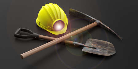 the miners: Miners helmet, pickaxe and shovel isolated on black background. 3d illustration Stock Photo
