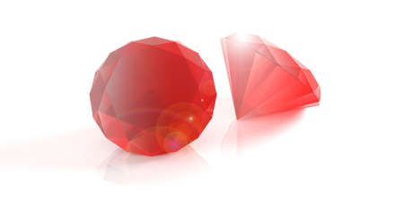 Red gemstones isolated on white background. 3d illustration Stock Photo