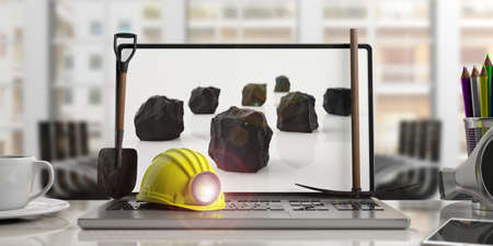 Miners equipment on a laptop - office background. 3d illustration