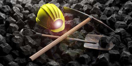 Miner's helmet, pickaxe and shovel isolated on black stones background. 3d illustration