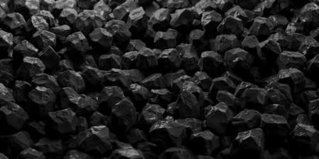 Black marble rocks full background. 3d illustration