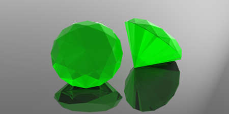 Green gemstones isolated on grey background. 3d illustration Stock Photo