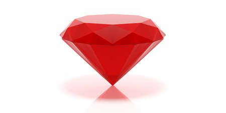 Red gemstone isolated on white background. 3d illustration