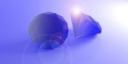 Blue gemstones isolated on blue background. 3d illustration