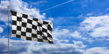 traffic pole: F1 waving flag on blue sky background . 3d illustration