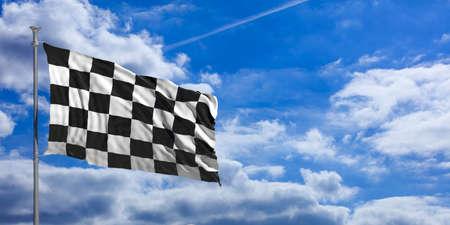 F1 waving flag on blue sky background . 3d illustration