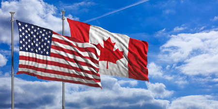 USA and Canada waving flags on blue sky background . 3d illustration