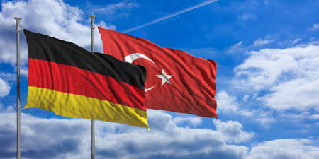 Turkey and  Germany waving flags on blue sky background . 3d illustration