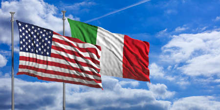 USA and Italy waving flags on blue sky background . 3d illustration