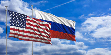 USA and Russia waving flags on blue sky background . 3d illustration Stock Photo