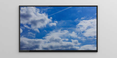 Blue sky on a tv screen on white background. 3d illustration Stock Photo