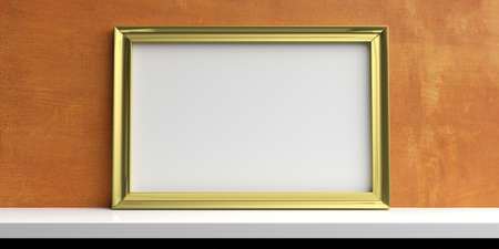 gold textured background: Golden frame on a white shelf - painted wall background. 3d illustration