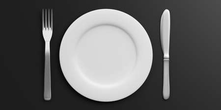 Place Setting with Plate, Knife and Fork isolated on black background. 3d illustration