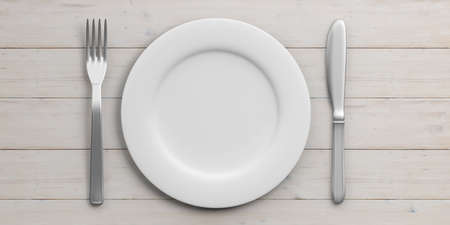 Place Setting with Plate, Knife and Fork isolated on wooden background. 3d illustration Stock Photo