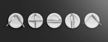 Place Settings, table manners on black background. 3d illustration