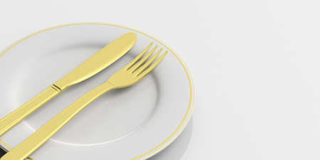 Place Setting, golden cutlery, finished signal, on white background. 3d illustration