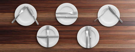 Place Settings, table manners on wooden background. 3d illustration Stock Photo