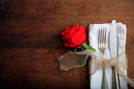 Valentines day romantic table setting on wooden background