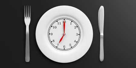 Place Setting, Plate with clock face on black background. 3d illustration