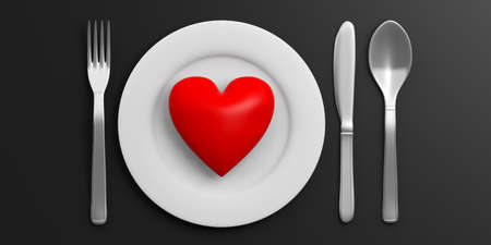 wedding table setting: Table Setting and red heart isolated on black background. 3d illustration