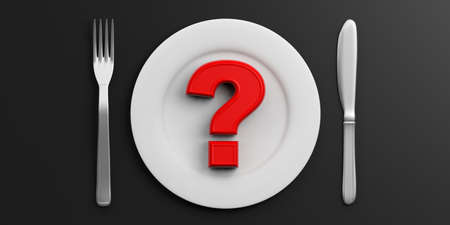 Red question mark on a Plate on black background. 3d illustration Stock Photo