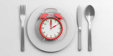 Place Setting, Plate with alarm clock on white background. 3d illustration