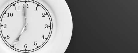Plate with clock face on black background. 3d illustration Stok Fotoğraf