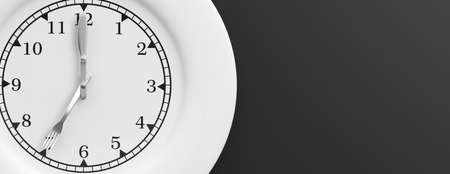 Plate with clock face on black background. 3d illustration Stock Photo