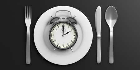 Place Setting, Plate with alarm clock on black background. 3d illustration