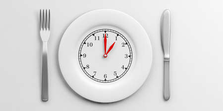Place Setting, Plate with clock face on white background. 3d illustration