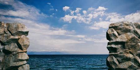 Rocks on calm blue sea and sky background. 3d illustration