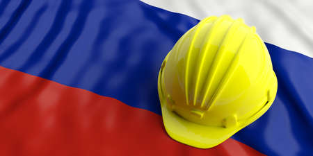 Yellow construction hat over Russia flag. 3d illustration