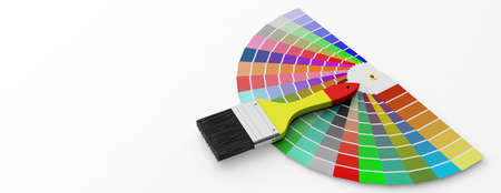 Paint colors catalogue and brush on white background. 3d illustration