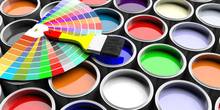 Paint colors catalogue and brush on paint cans background. 3d illustration
