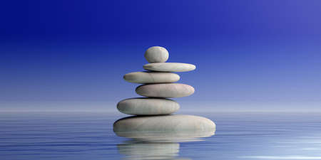 Zen stones stack on blue water background. 3d illustration Stock Photo