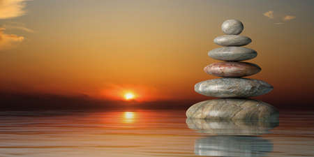 Zen stones stack on water st sunset. 3d illustration