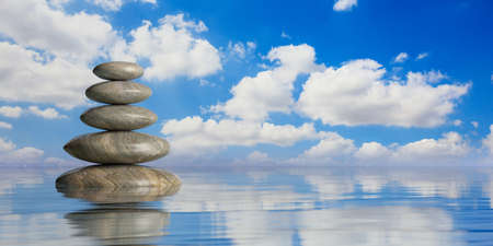 Zen stones stack on blue water background. 3d illustration Фото со стока