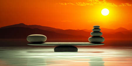 Zen stones balance on sunset background. 3d illustration Stock Photo