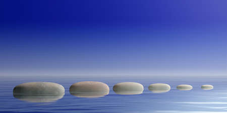Zen stepping stones on blue water background. 3d illustration