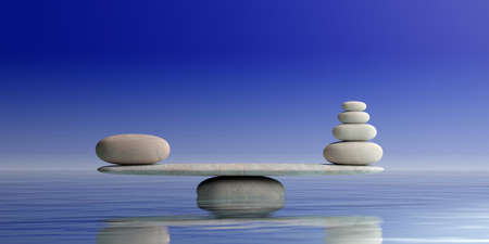 Zen stones balance on blue water background. 3d illustration Stock Photo