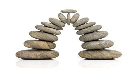 Zen stones arch on white background. 3d illustration Banco de Imagens - 85435643