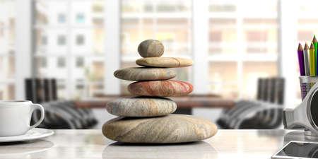 Ontspanning op kantoor. Zen-stenenstapel op een bureau. 3D illustratie