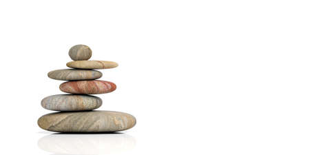 Zen stones stack on white background. 3d illustration